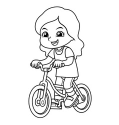 girl riding new green bicycle bw vector image