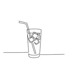 Glass water with ice old drink with a straw vector