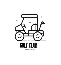 Golf school or club logotype with cart vector