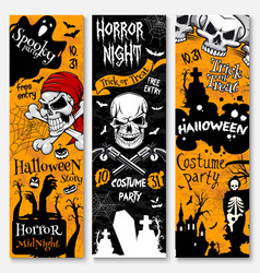 Halloween holiday banner of pirate costume party vector
