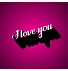 handwritten I love you retro label vector image
