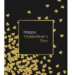 Happy Valentines Day Gold Background Golden heart vector image