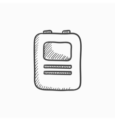 Heart defibrillator sketch icon vector
