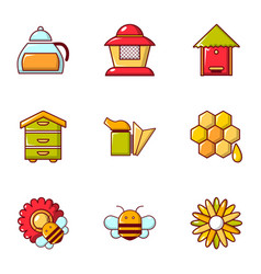 Honey production icons set flat style vector