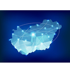 Hungary country map polygonal with spot lights vector image