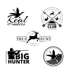 Hunting club labels logos emblems set vector
