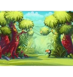 Jungle toucan trees and vector