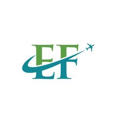 Letter ef travel airplane logo vector