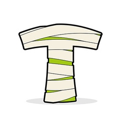 Letter T Mummy Typography icon in bandages vector image