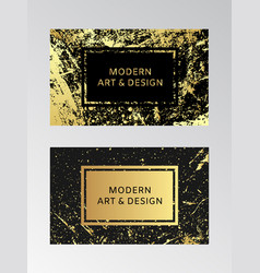 luxury business card with marble texture and gold vector image
