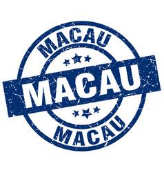 Macau blue round grunge stamp vector