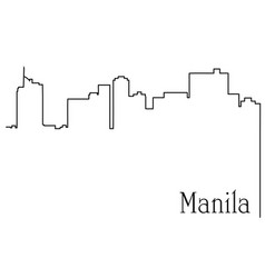 Manila city one line drawing vector