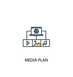 media plan concept 2 colored icon simple blue vector image
