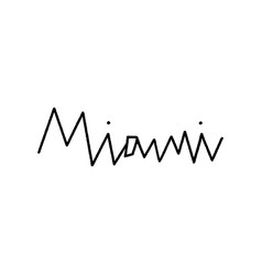 Miami hand lettering on white background vector