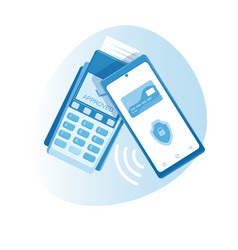 Mobile phone contactless payment on terminal vector