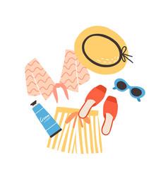Modern summer composition with beachwear vector