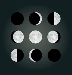 Moon phases on a dark background eps10 vector