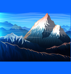 Mountain everest evening panoramic view of peaks vector