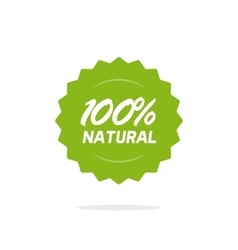 Natural 100 percent green label isolated vector