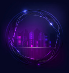 Neon night city design abstract background vector