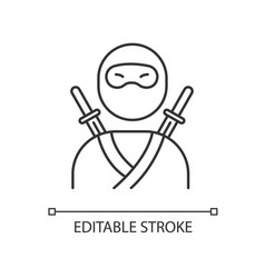 Ninja pixel perfect linear icon traditional vector