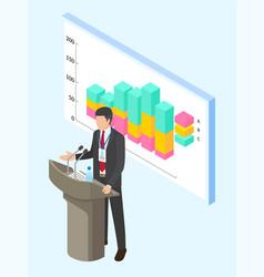 office worker businessman speaker stand near board vector image