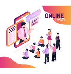 Online courses isometric vector