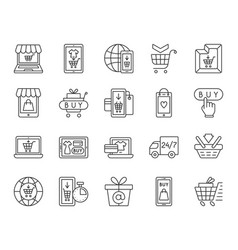 online shop simple black line icons set vector image