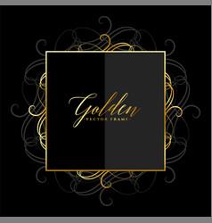 ornamental floral shiny golden frame design vector image