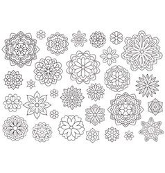 outline doodle flowers for adult coloring book vector image