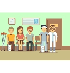 Patients in doctors waiting room at the hospital vector