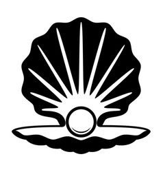 Pearl in a shell black and white icon vector