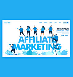 People join hands and invite in affiliate program vector