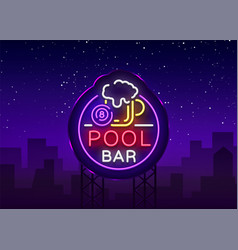 Pool bar logo in neon style neon sign design vector