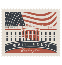 postage stamp with white house and flag usa vector image