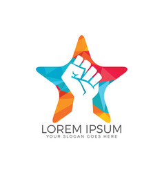 Power fist star shape abstract logo design vector