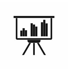 Presentation screen with diagram icon vector