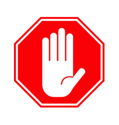 red stop hand sign vector image