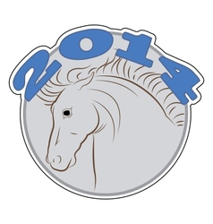 round sign with a picture a horse vector image