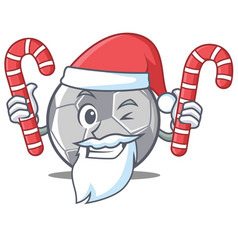 santa with candy football character cartoon style vector image
