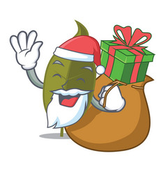 Santa with gift bay leaf mascot cartoon vector