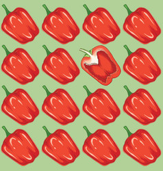 seamless pattern with red bell pepper vector image