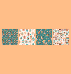 seamless patterns with easter symbols vector image