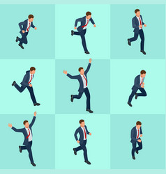 Set isometric running businessman businessman man vector