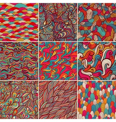 Set of 9 colorful wave patterns seamlessly vector image