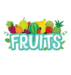 Set Of Fruits Objects And Letters vector image
