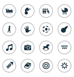 set of simple baby icons vector image