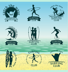 set of surfing club logos vector image