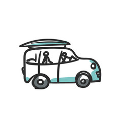 simple car doodle road trip cartoon isolated on vector image