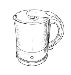 Sketch of electric kettle vector